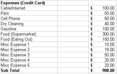 Excel Budget - Credit Card Expenses